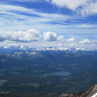 A view of the Hazelton mountain range from the top of Hudson Bay Mountain outside Smithers B.C.