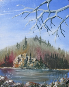 8 x 10 Oil on Plywood. Painted at Nicolson Bay, Burns Lake
